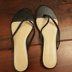 black flip flop sandals